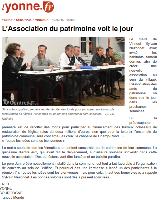 Article Yonne Républicaine, création de l'association Vinneuf Les Amis du Patrimoine pour la sauvegarde de l'église Saint-Georges, Yonne, monuments historiquess