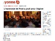 L'harmonie de Pont à l'église Saint-Georges de Vinneuf, Yonne Républicaine du 15.09.15, sauvegarde du Patrimoine national