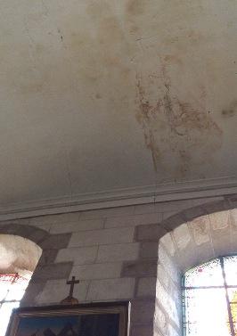 Infiltration plafond, église Saint-Georges, Vinneuf, sauvegarde du Patrimoine