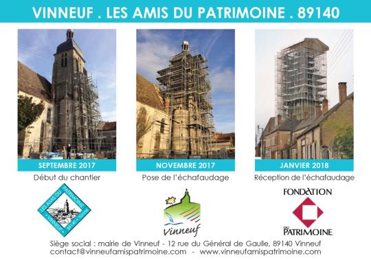 Dons pour la sauvegarde du clocher avec dôme à l'impérial de l'église Saint-Georges, Yonne, vinneuf
